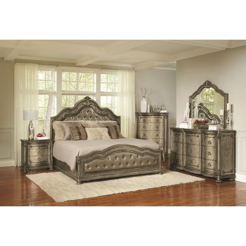 Best Traditional Platinum Gold 6 Piece King Bedroom Set With Pictures