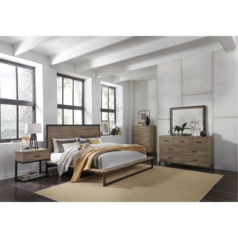 Best Industrial Modern Pine Metal 4 Piece King Bedroom Set With Pictures