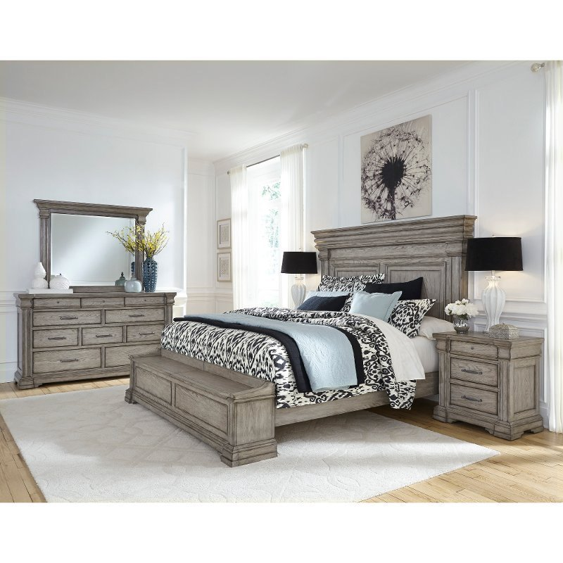 Best Classic Traditional Gray 4 Piece King Bedroom Set Madison Ridge Rc Willey Furniture Store With Pictures