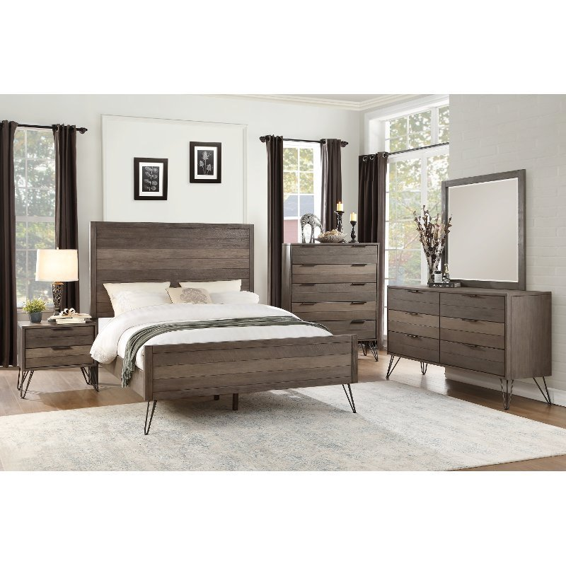 Best Modern Industrial Gray 6 Piece California King Bedroom Set With Pictures