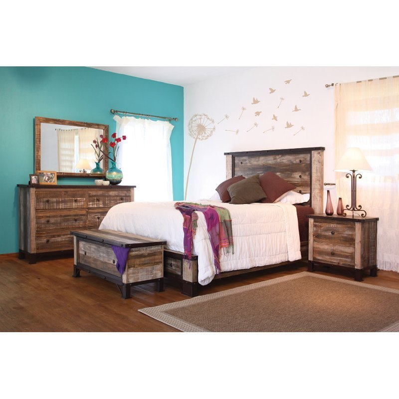Best Rustic 6 Piece King Bedroom Set Antique Rc Willey Furniture Store With Pictures