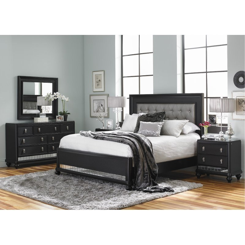 Best Diva Midnight Black Queen 6 Piece Bedroom Set With Pictures