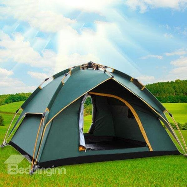Best 3 4 Person Dark Green Polyester Waterproof One Bedroom With Pictures