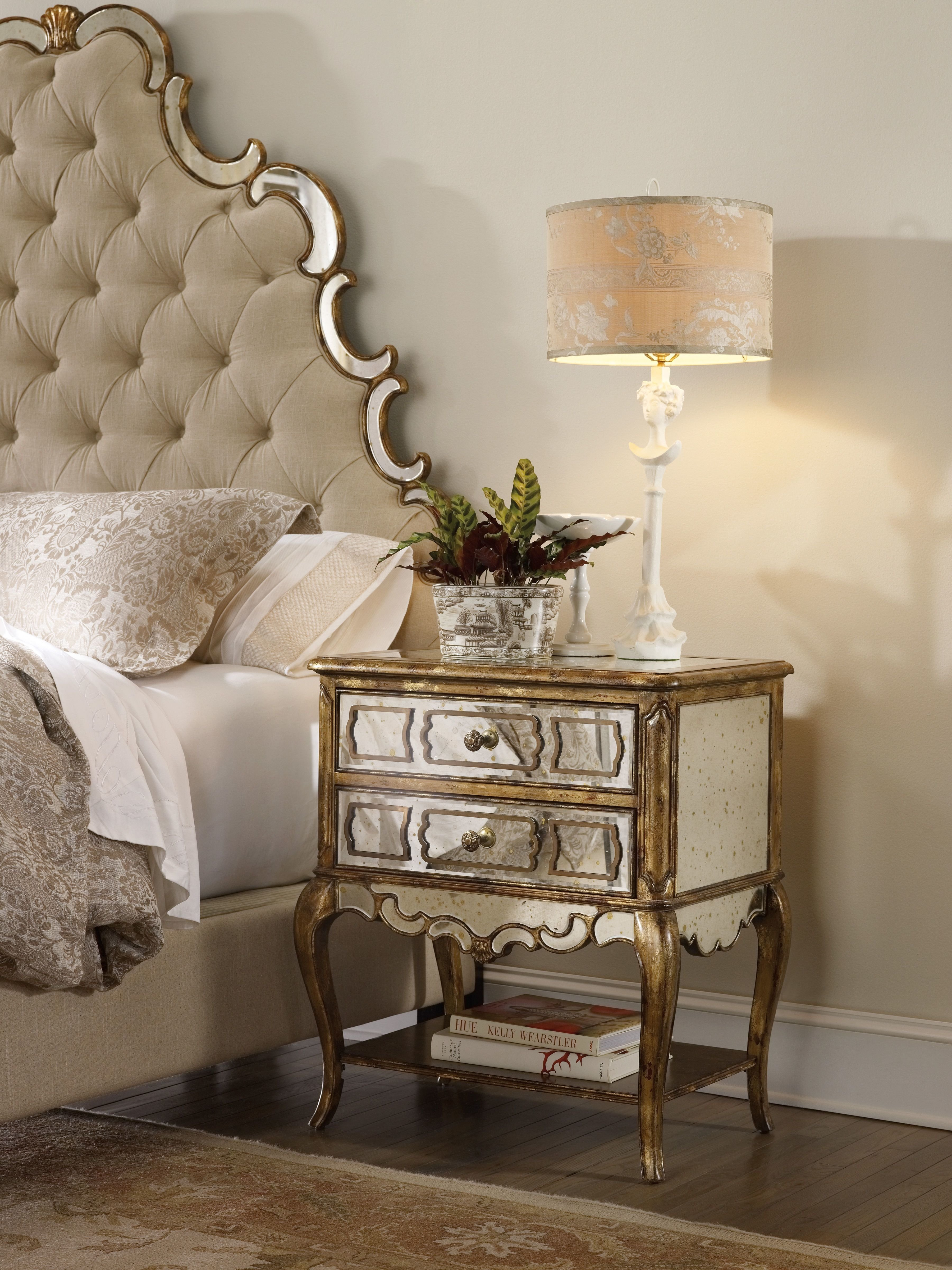 Best H**K*R Furniture Bedroom Sanctuary Mirrored Leg Nightstand Bling 3016 90015 With Pictures