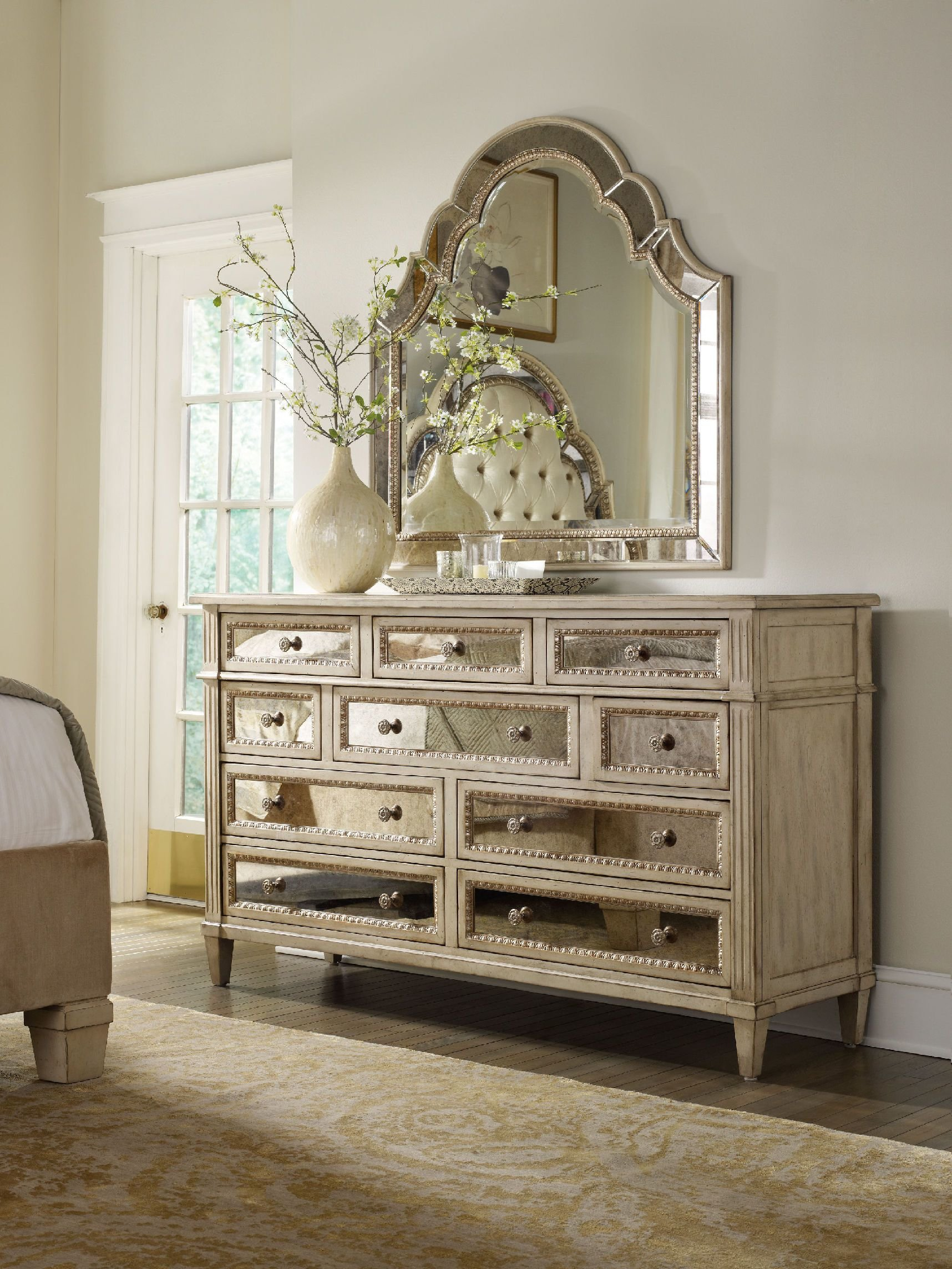 Best H**K*R Furniture Bedroom Sanctuary Ten Drawer Dresser Pearl Essence 3023 90002 With Pictures