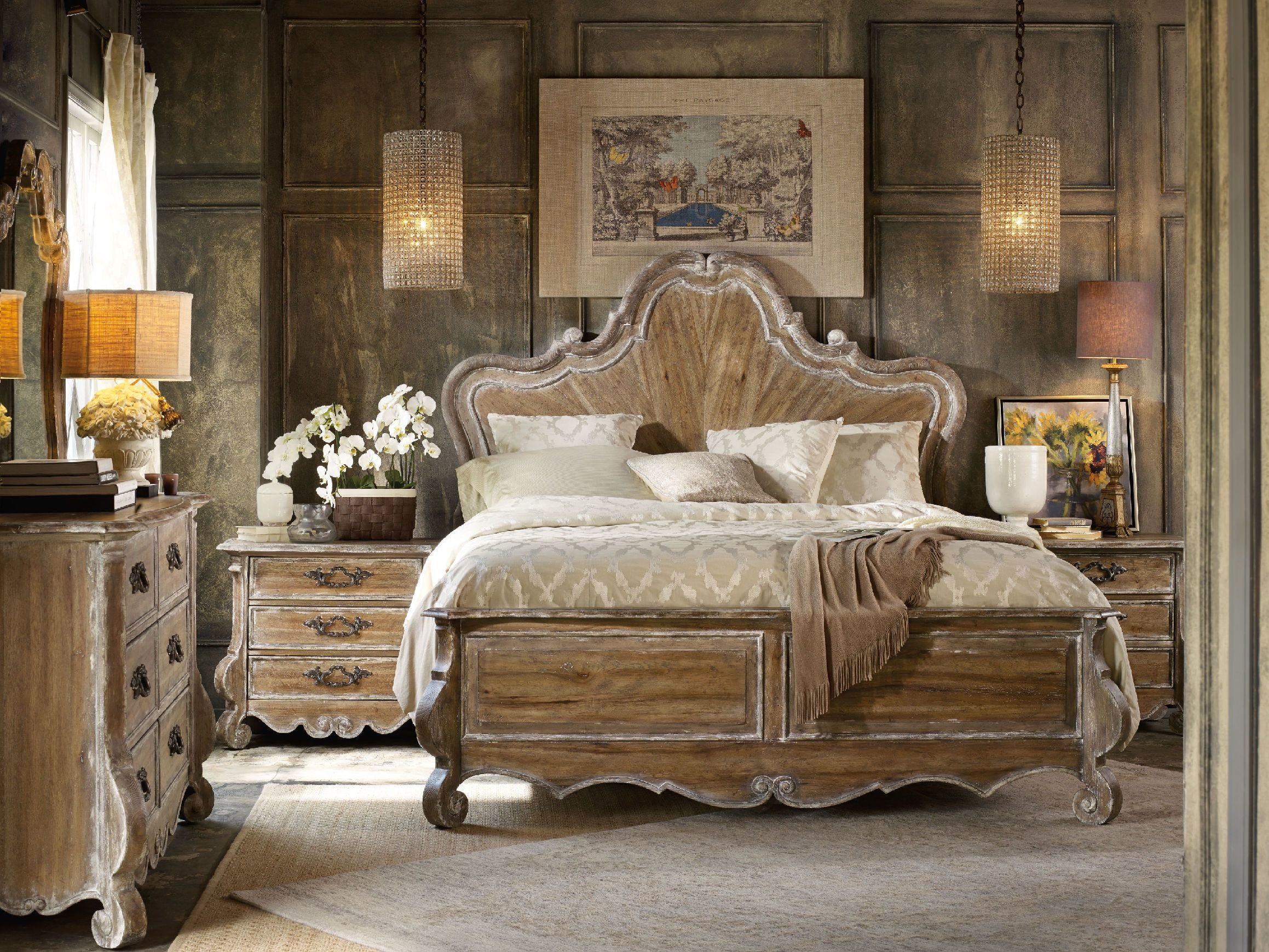 Best H**K*R Furniture Bedroom Chatelet King Wood Panel Bed 5300 With Pictures