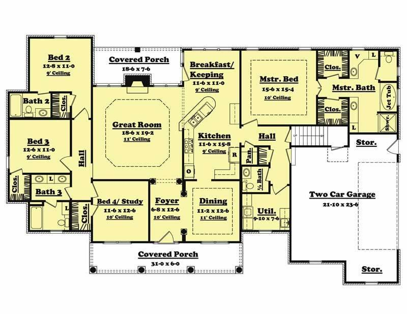 Best Traditional Country Home Floor Plan – Four Bedrooms Plan 142 1005 With Pictures