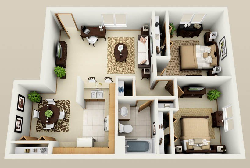 Best Two Bedroom Apartments Near Me With Pictures - August ...