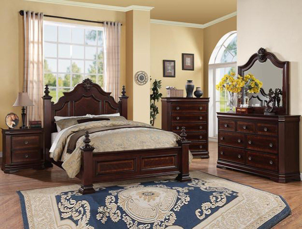 Best Charlotte Collection Bedroom Set Cherry Finish B8300 With Pictures