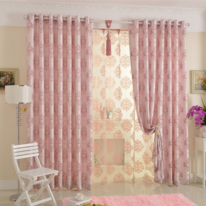 Best Beautiful Jacquard Floral Privacy Pink Bedroom Curtains With Pictures