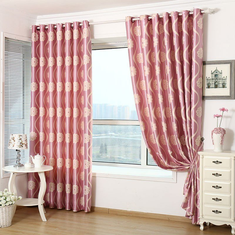 Best Lovely Floral Bedroom Jacquard Pink Thermal Curtains With Pictures