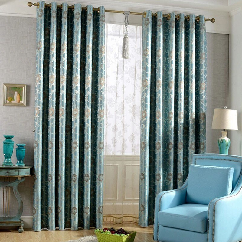 Best Hot Sale Blackout Jacquard Floral Leaf Bedroom Curtains With Pictures