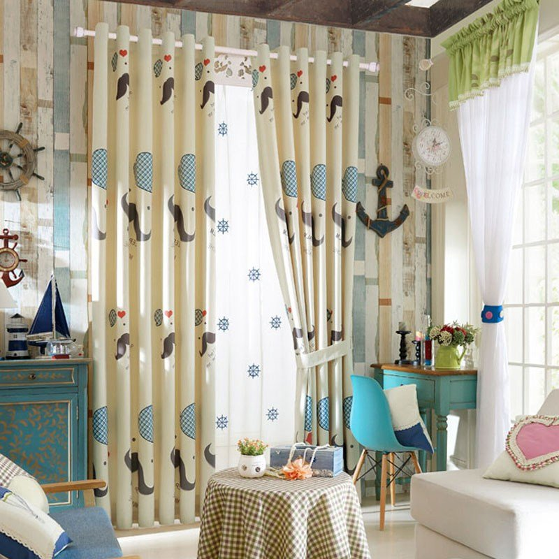 Best Unique Polyester Cool Patterned Light Beige Bedroom Curtains With Pictures