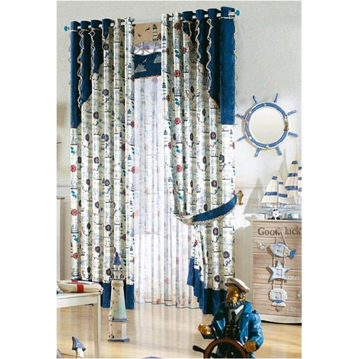 Best Thick Poly Cotton Blue Kids Bedroom Nautical Curtains With Pictures