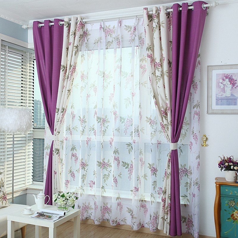 Best White And Purple Color Block Floral Print Linen Cotton With Pictures