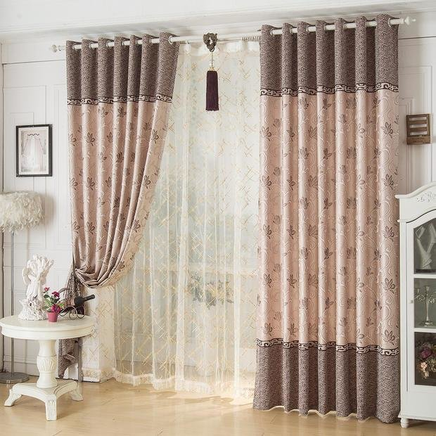 Best Coffee Waverly Jacquard Vintage Poly Cotton Blend Custom Bedroom Curtains On Sale With Pictures