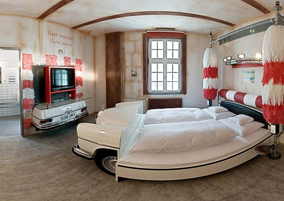 Best Simple Car Bedroom Themed With White Classic Car Red White With Pictures
