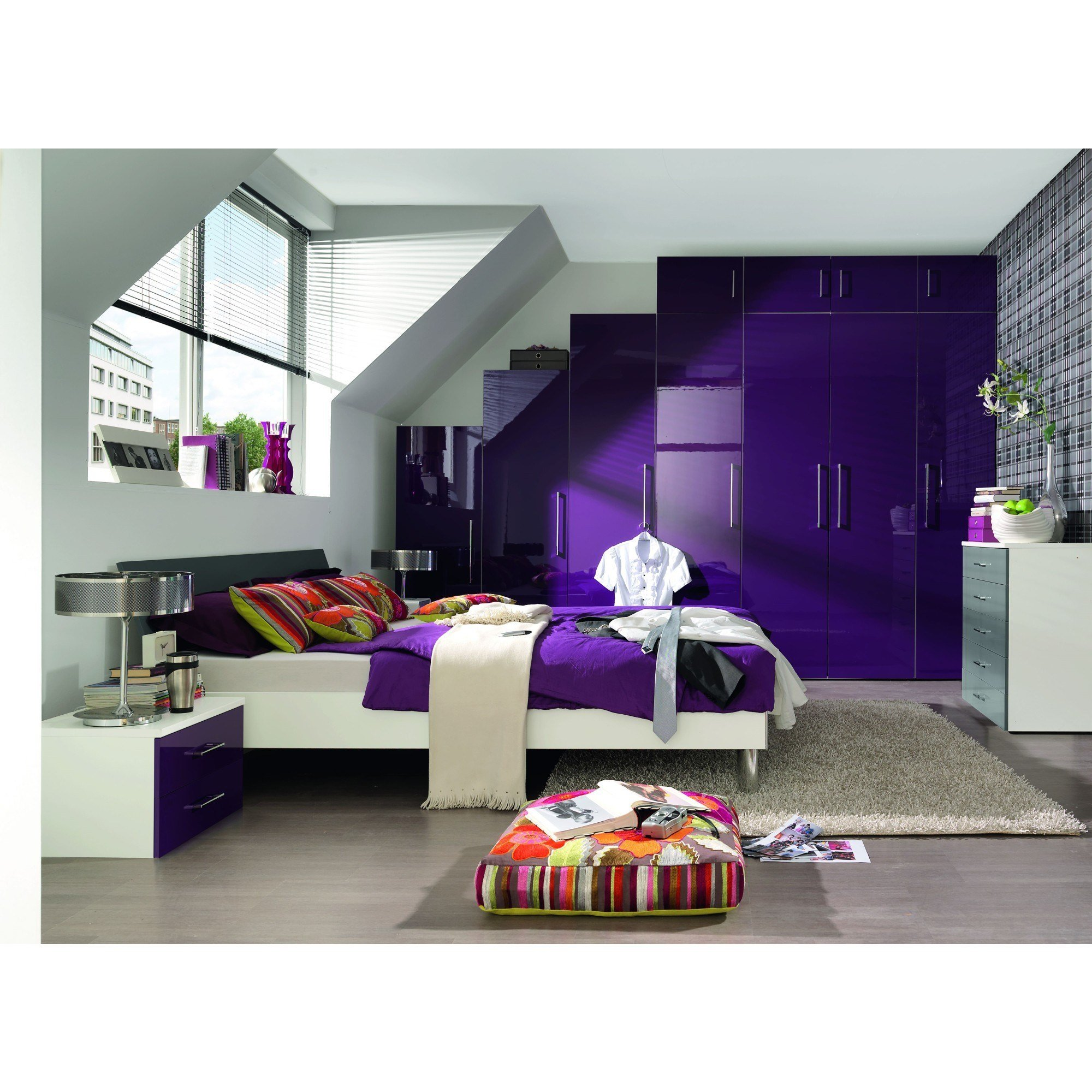 Best Purple High Gloss Bedroom Furniture Eo Furniture With Pictures