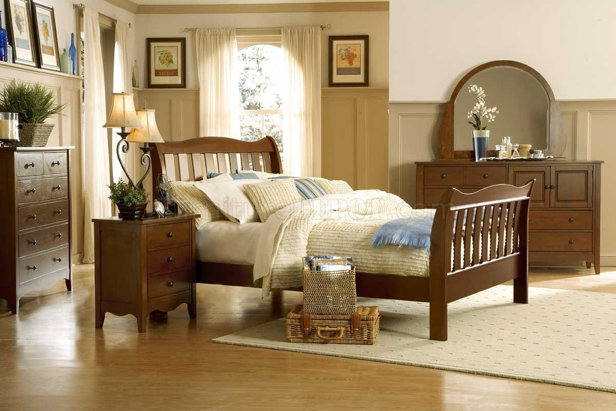 Best Natural Wood Finish Casual 5Pc Bedroom Set W Sleigh Bed With Pictures