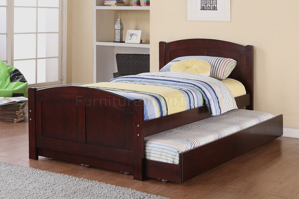 Best F9217 Kids Bedroom 3Pc Set By Poundex In Cherry W Trundle Bed With Pictures