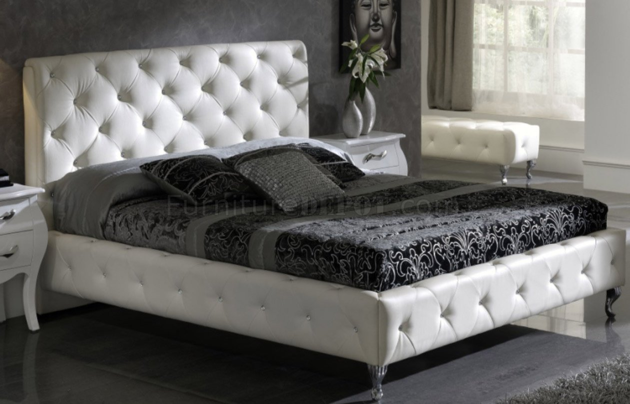 Best White Nelly Bed By Esf W Modern Tufted Leather Headboard With Pictures