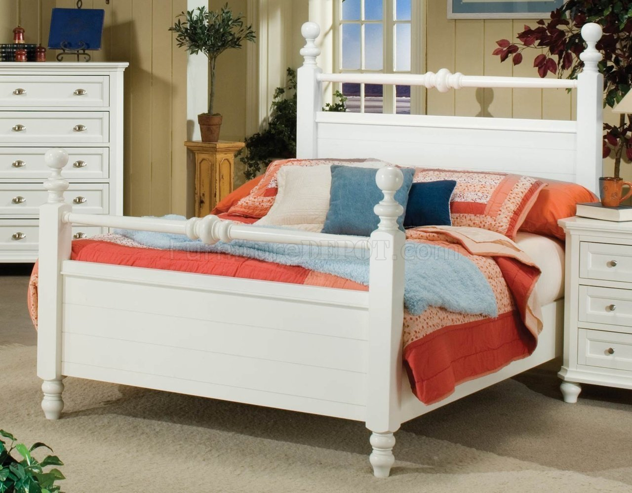 Best White Or Black Casual Cottage Style 5Pc Bedroom Set With Pictures