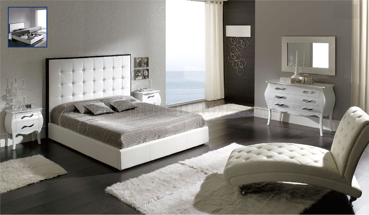 Best Penelope White Bedroom By Esf W Tufted Leather Headboard With Pictures