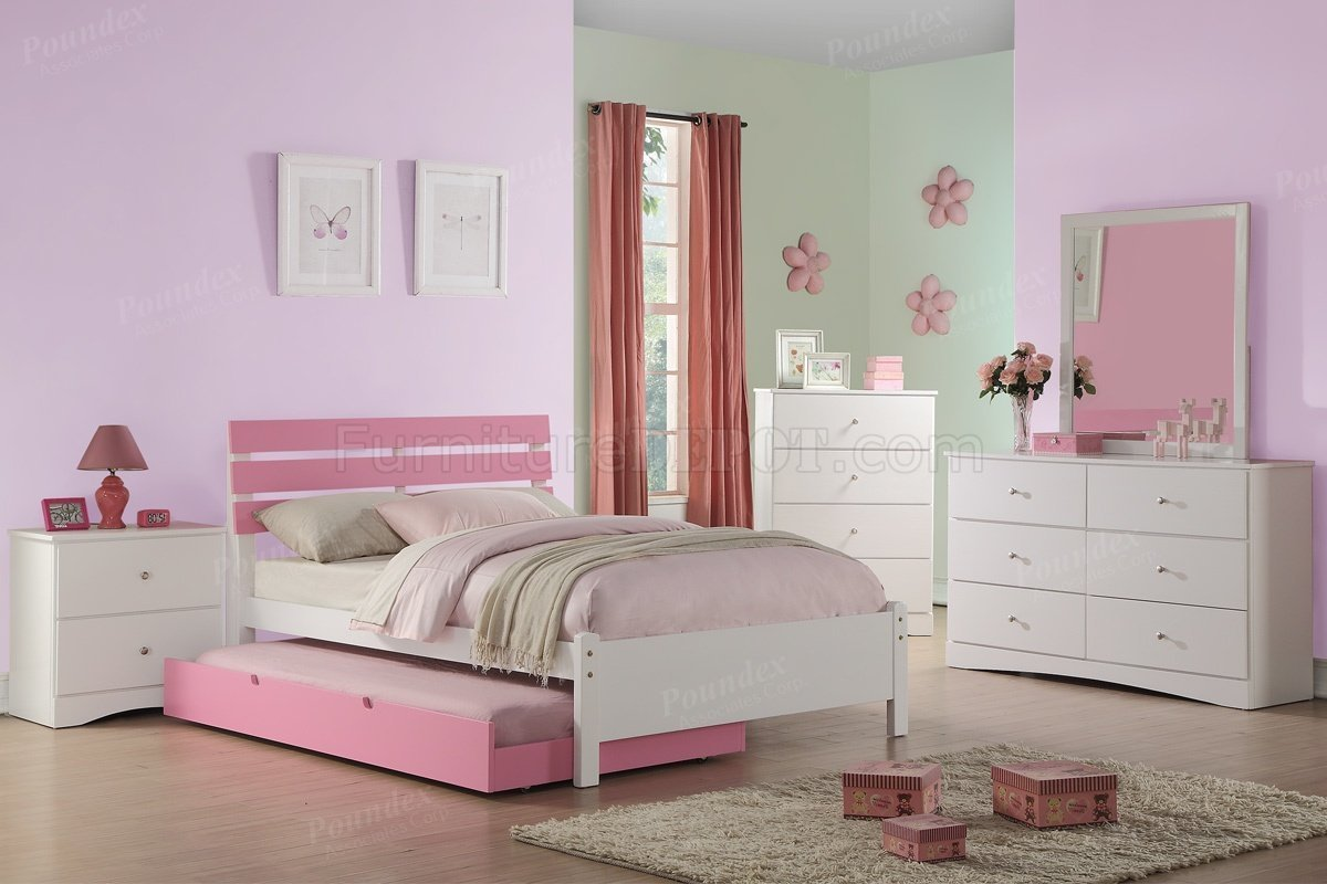 Best F9323 Kids Bedroom Set 4Pc In White Pink By Boss W Options With Pictures