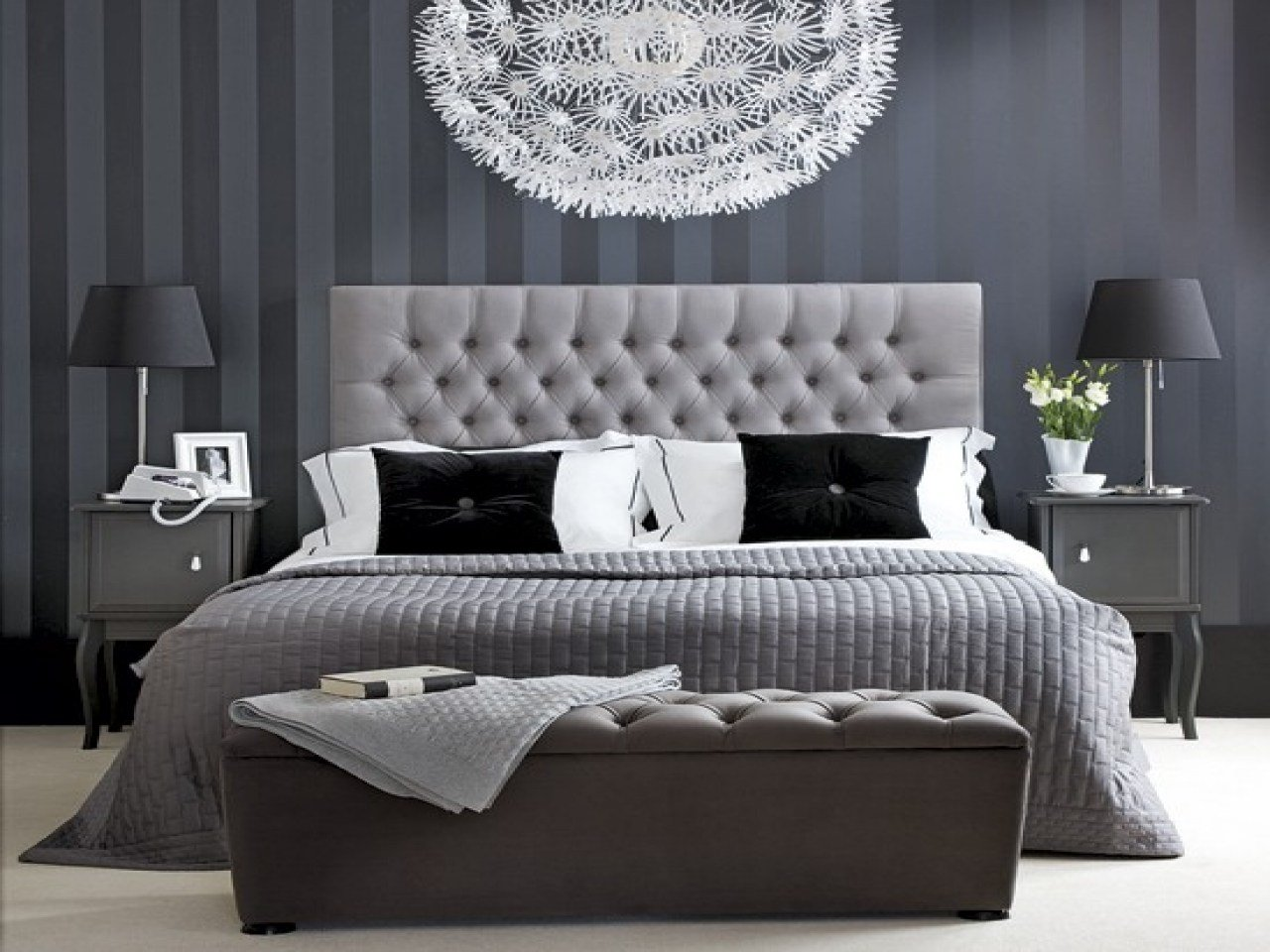 Best Hotel Chic Bedroom Black White And Grey Bedroom Ideas With Pictures