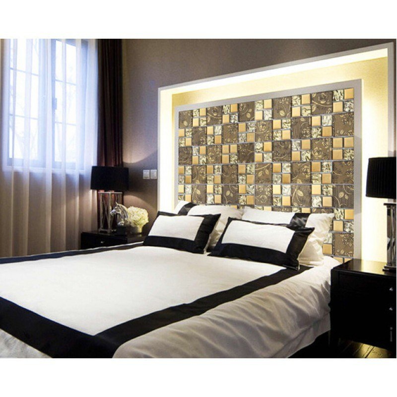 Best Gold Items Crystal Glass Mosaic Tile Wall Backsplashes With Pictures