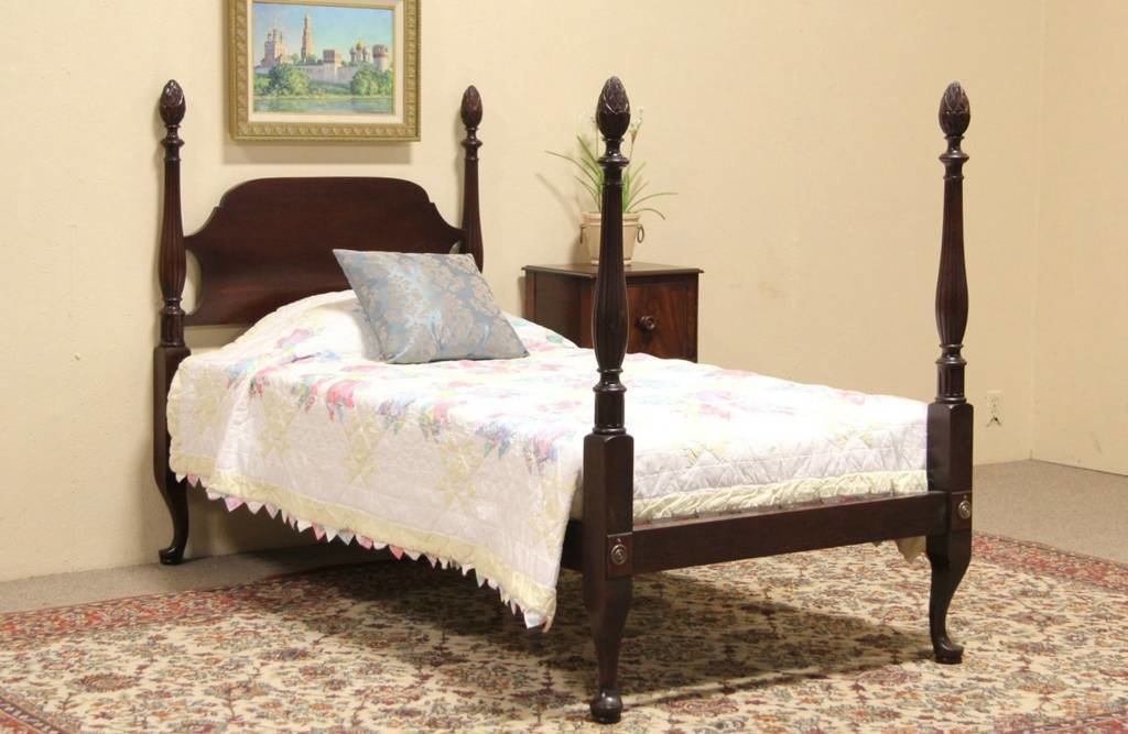 Best Sold Pineapple 4 Poster Twin Size 1925 Mahogany Bed With Pictures