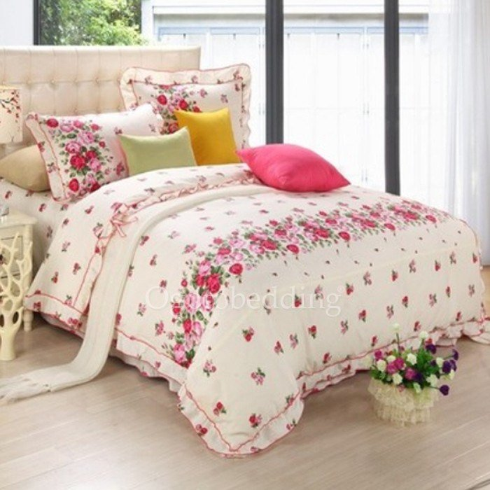 Best Simple Red Floral Full Cotton Comforter Sets On Sale With Pictures