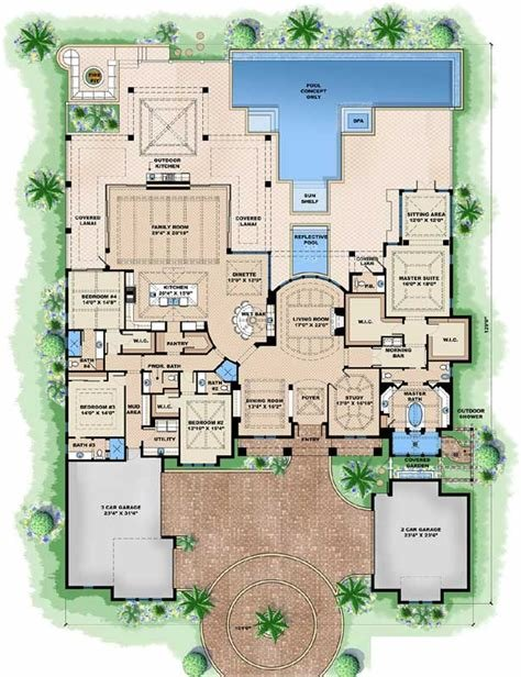 Best Beach Style House Plans 5377 Square Foot Home 1 Story With Pictures