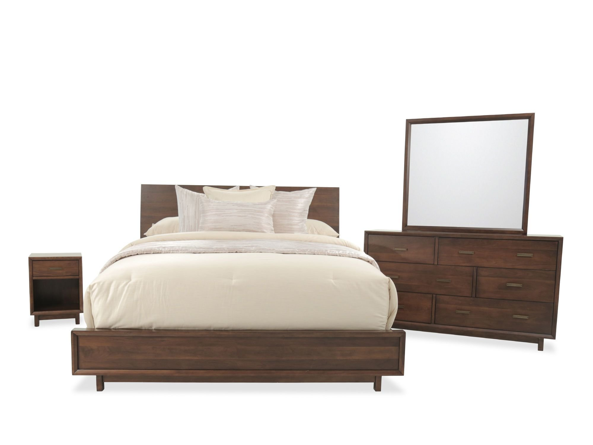 Best Four Piece Contemporary Bedroom Set In Tobacco Mathis With Pictures