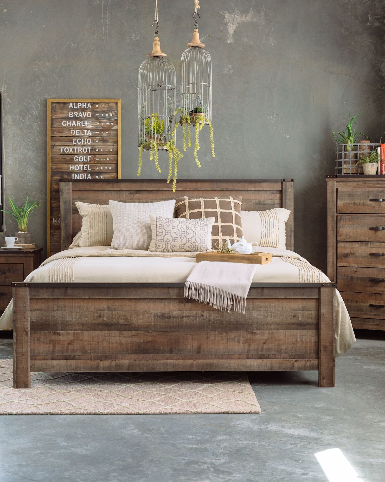 Best Four Piece Rustic Farmhouse Bedroom Set In Brown Mathis With Pictures