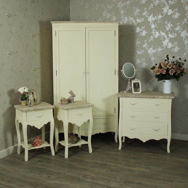 Best Cream Painted Wooden Full Bedroom Furniture Set Bedside With Pictures