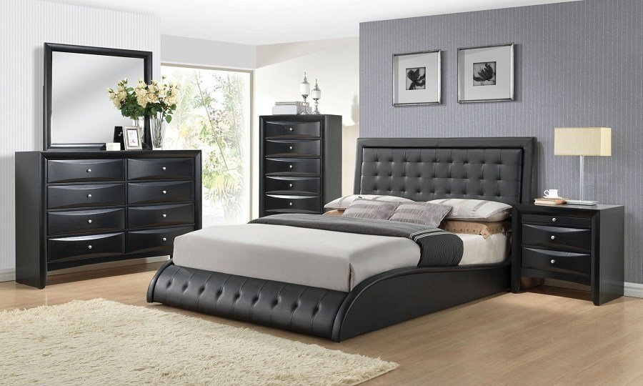 Best Contemporary Black Padded Eastern King Size Platform Bed With Pictures