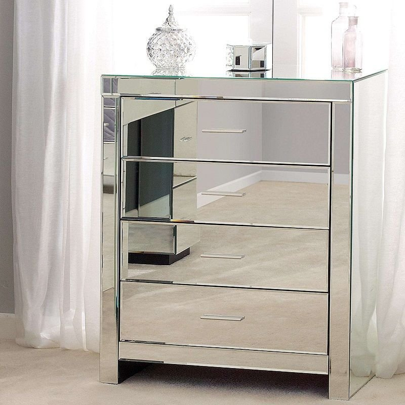 Best 4 Drawer Delux Modern Glass Mirrored Bedroom Furniture With Pictures