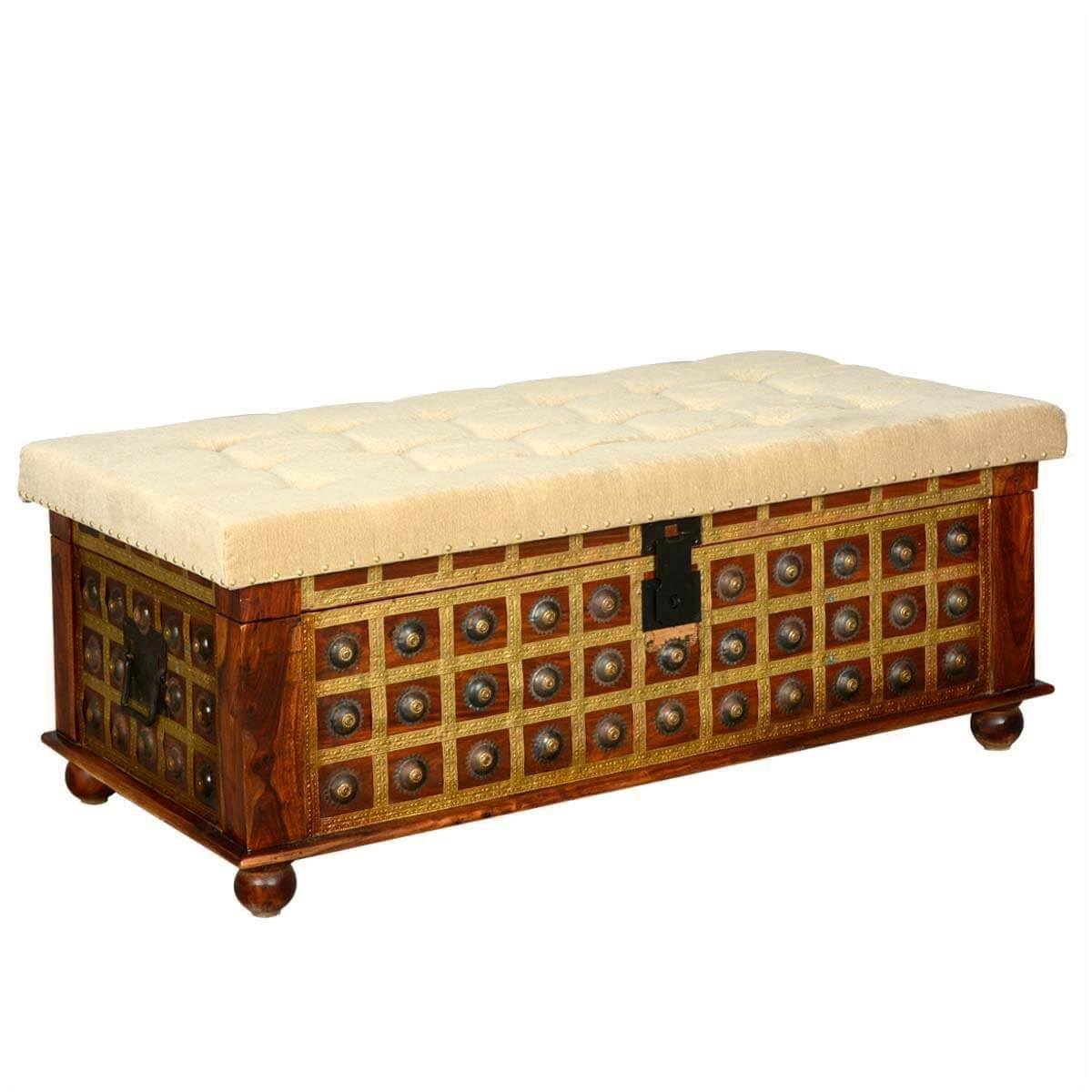 Best Capella Wood Brass Everett Upholstered Bedroom Storage Trunk With Pictures