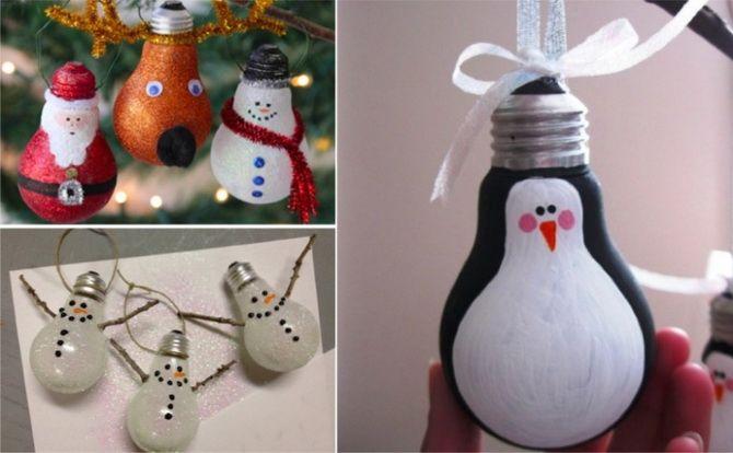Nyttårs leksaker på julgran från glödlamporna