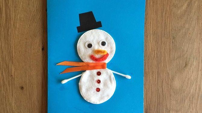 Мақта дискілерінен снеговикті қалай жасауға болады - ең жақсы жаңа жылдық қолөнер 12