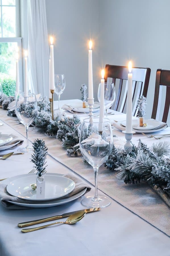 White Amp Gold Tablescape With A Christmas Table Garland