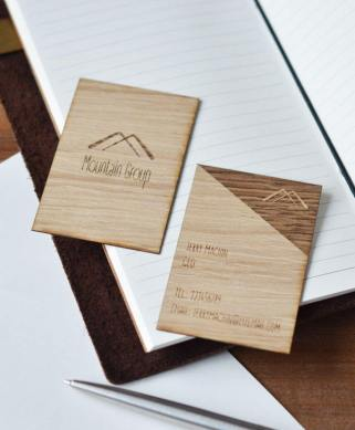 Oak Wood Business Cards set of 15   JS Laser Craft personalised business cards