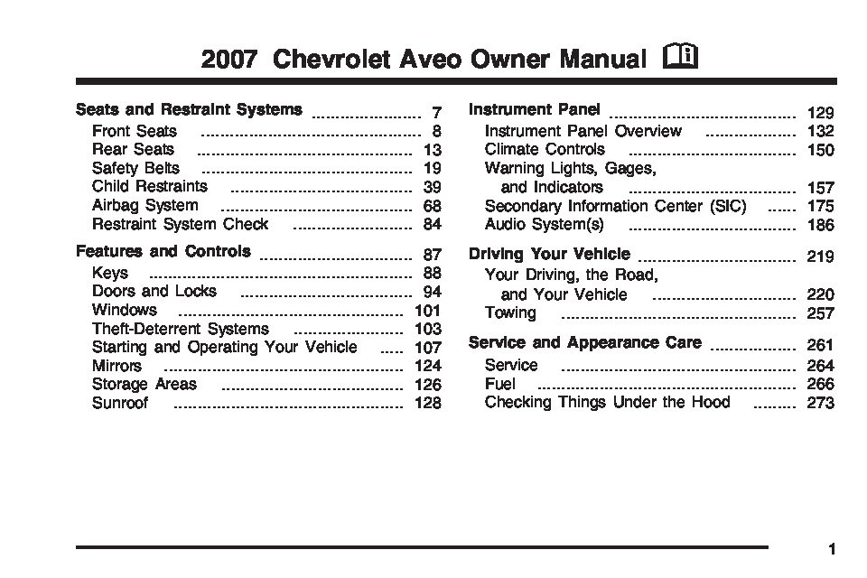 Owners Manual Chevy Aveo 2008