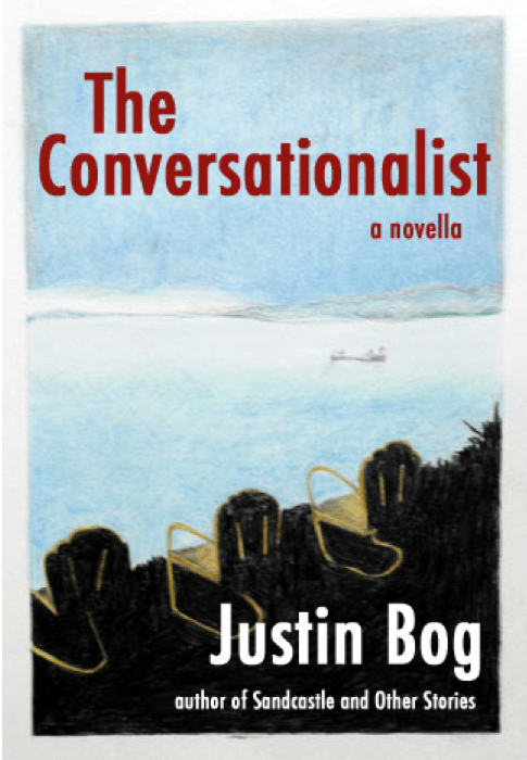 Book cover for The Conversationalist by author Justin Bog set in the San Juan Islands.