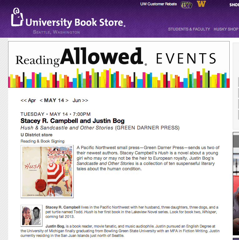 The University Bookstore in Seattle is holding an author event for Justin Bog and Stacey R. Campbell.
