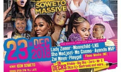 Soweto Massive to close off the year at Icon Soweto, with performances by Sho Madjozi and Lady Zamar