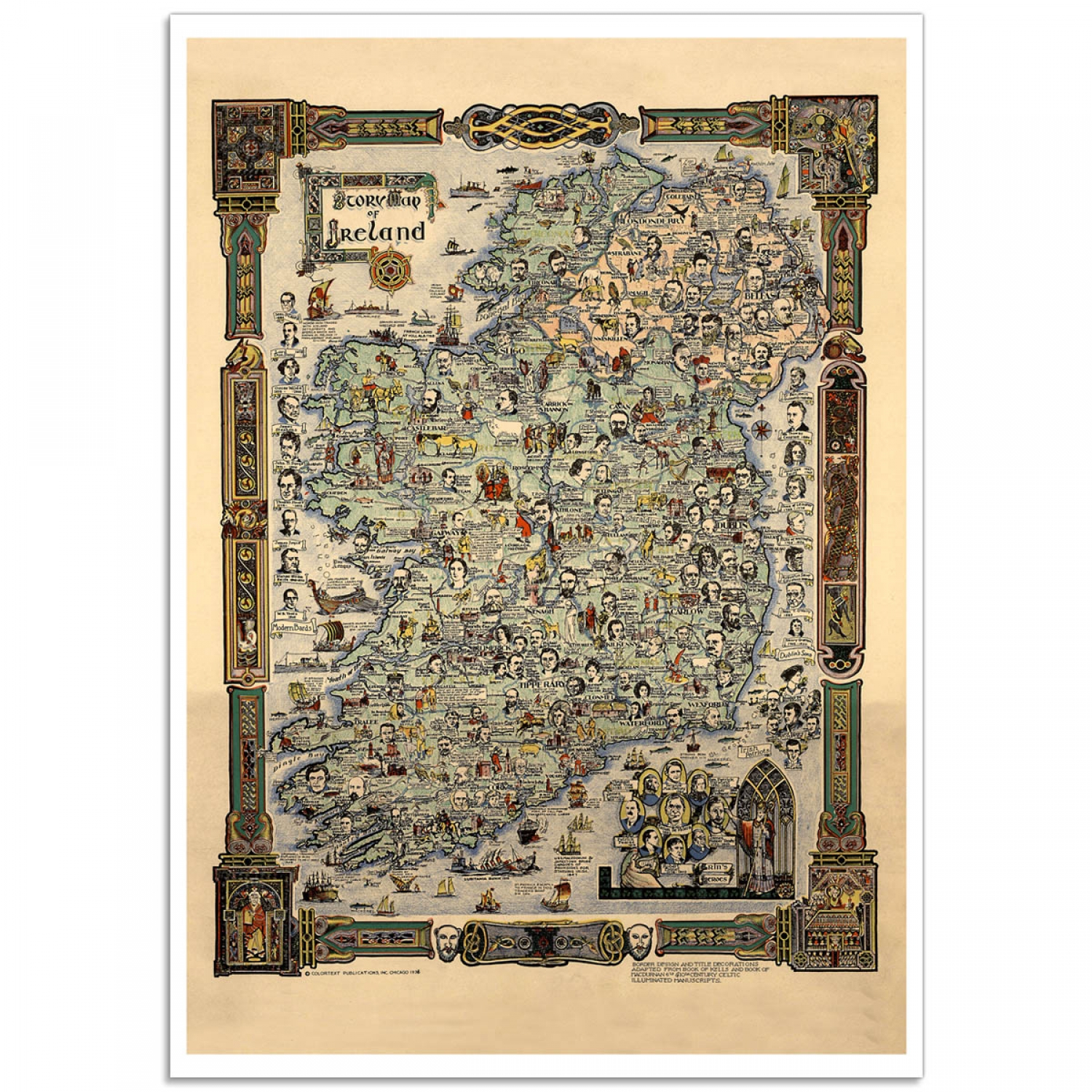 Purchase  Story Map of Ireland 1936  Online   Just Posters Vintage Map Poster   Story Map of Ireland 1936