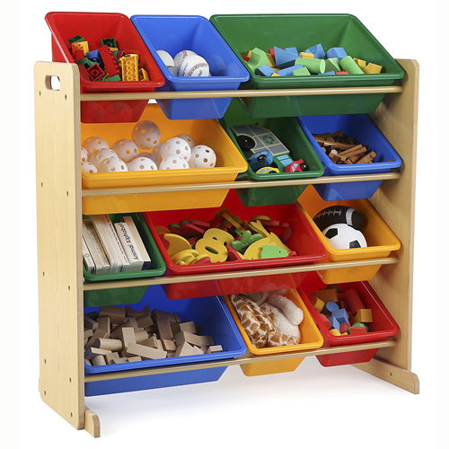 Tot Tutors Kids Toy Storage Organizer with 12 Plastic Bins Natural Primary (Primary Collection)