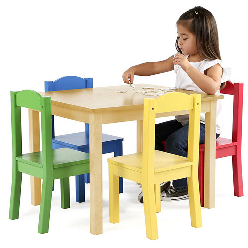 Tot Tutors Kids Wood Table and 4 Chairs Set Natural Primary (Primary Collection)